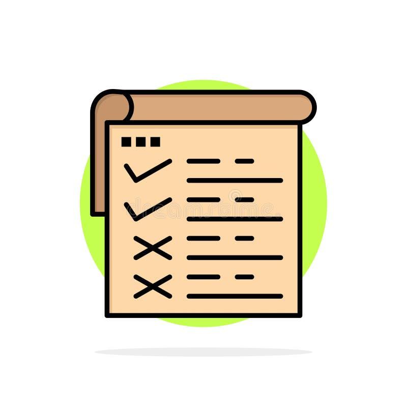 Lista kontrolna, testowanie, raport, Qa okręgu Abstrakcjonistycznego tła koloru Płaska ikona ilustracja wektor