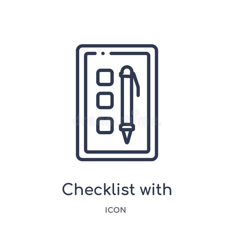 lista kontrolna z ołówkową ikoną od politycznej kontur kolekcji Cienieje kreskową listę kontrolną z ołówkową ikoną odizolowywając ilustracji