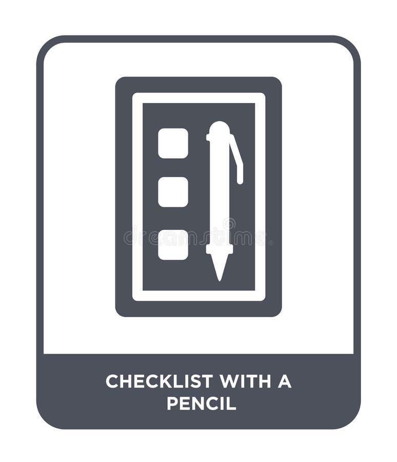 lista kontrolna z ołówkową ikoną w modnym projekta stylu lista kontrolna z ołówkową ikoną odizolowywającą na białym tle lista kon ilustracji