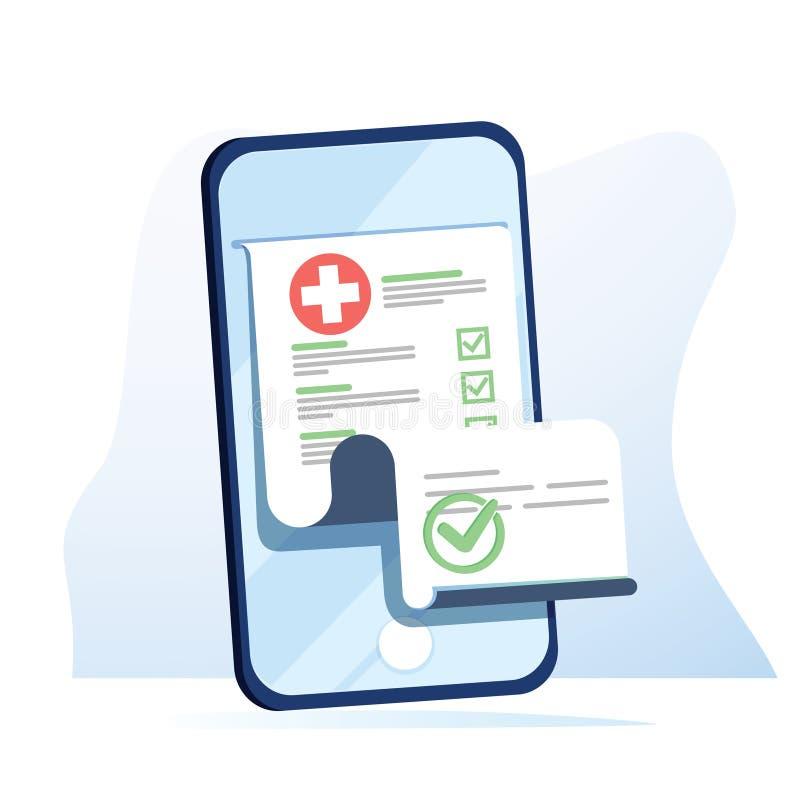 Lista médica de la forma con datos de los resultados y la marca de verificación aprobada en m ilustración del vector