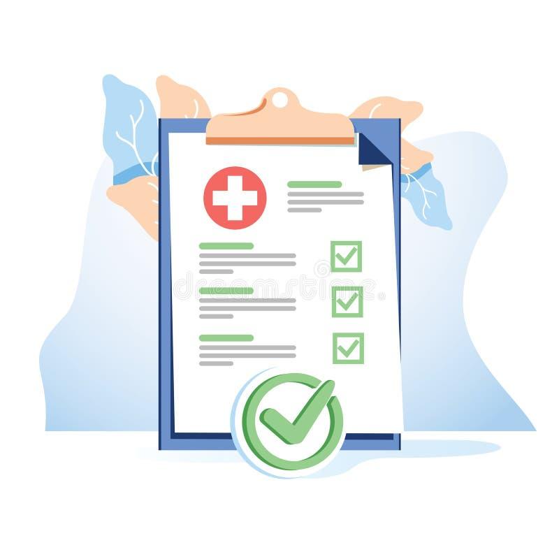 Lista medica della forma con i dati di risultati e il vect approvato del segno di spunta illustrazione vettoriale