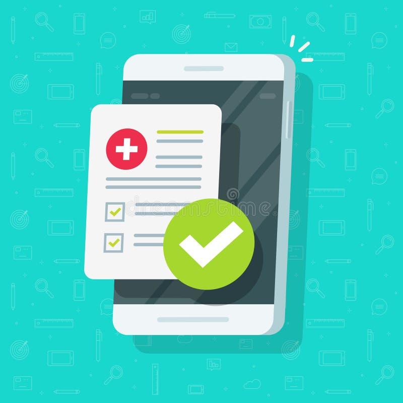 Lista medica della forma con i dati di risultati, segno di spunta approvato sul vettore del telefono cellulare, lista di controll illustrazione vettoriale