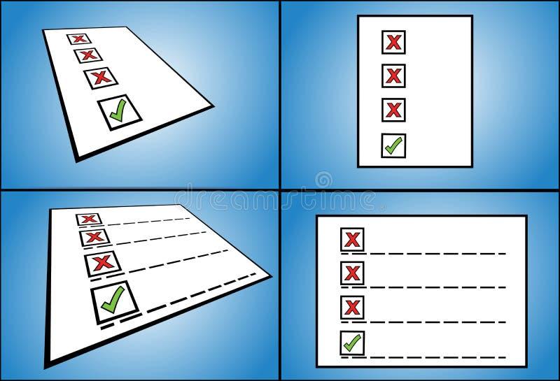 Lista mylne czeka pudełka opcje podążać prawą czeka pudełka opcją pisać na papierze - perspektywiczny widok ilustracja wektor