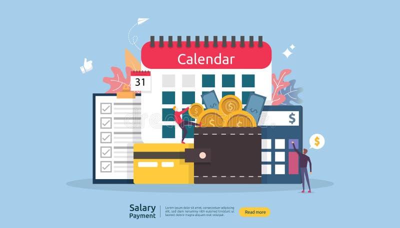 Lista płac dochodu pojęcie pensyjna płatnicza roczna premia subwencja z papierem, kalkulatorem i ludźmi charakterów, Sieci l?dowa ilustracja wektor