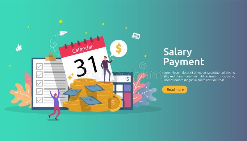 Lista płac dochodu pojęcie pensyjna płatnicza roczna premia subwencja z papierem, kalkulatorem i ludźmi charakterów, Sieci l?dowa royalty ilustracja