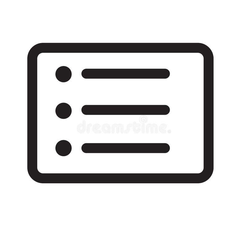 Lista tecknet och symbolet för knappsymbolsvektor som isoleras på vit backgr vektor illustrationer
