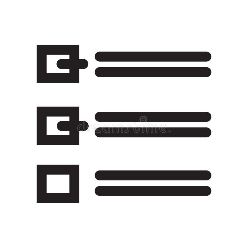 Lista układ z czeków pudełek ikony wektoru znakiem i symbol odizolowywamy royalty ilustracja