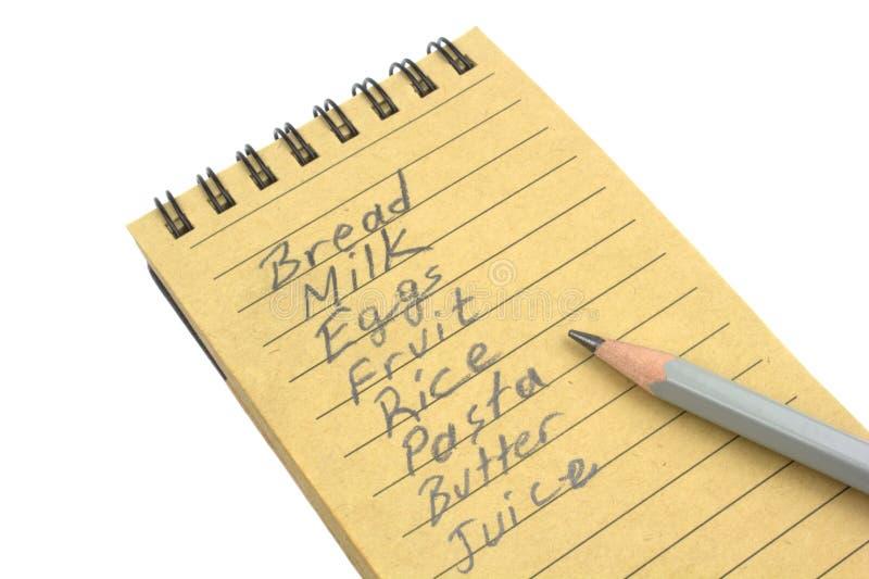 Lista zakupów z naturalnym papierem i ołowianym ołówkiem zdjęcia royalty free