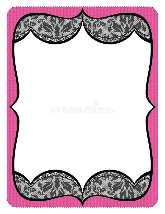 Listado rosado de lujo del marco con el cordón negro stock de ilustración