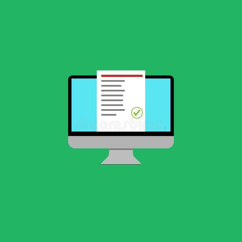 listan för datorgodkände den online-utbildningsprovet design royaltyfri illustrationer