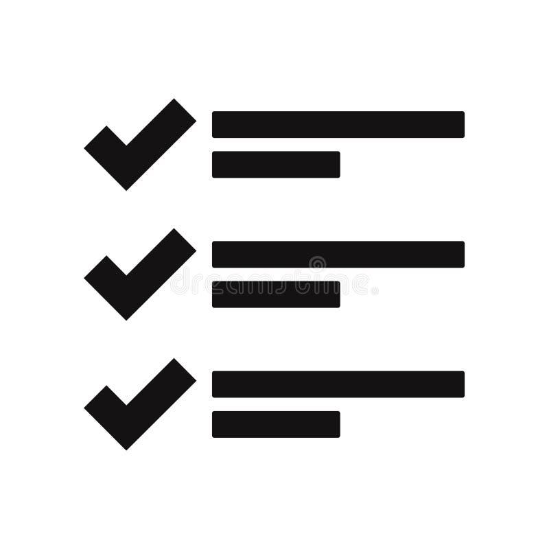 Listavektorsymbol som isoleras på vit bakgrund royaltyfri illustrationer