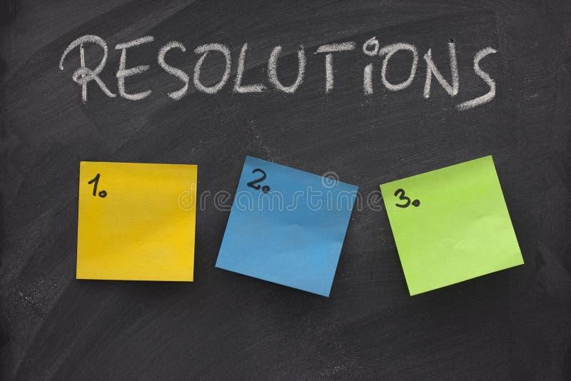 Liste blanc de résolutions concernant le tableau noir photos libres de droits
