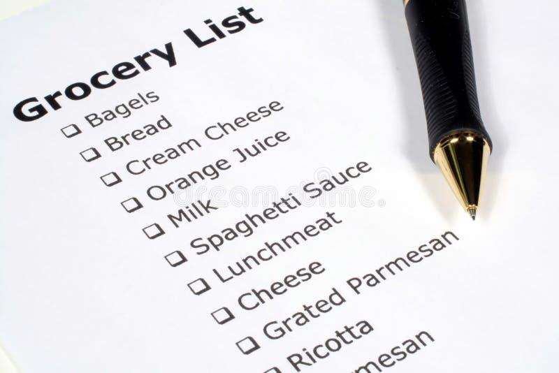 Liste d'épicerie photos libres de droits