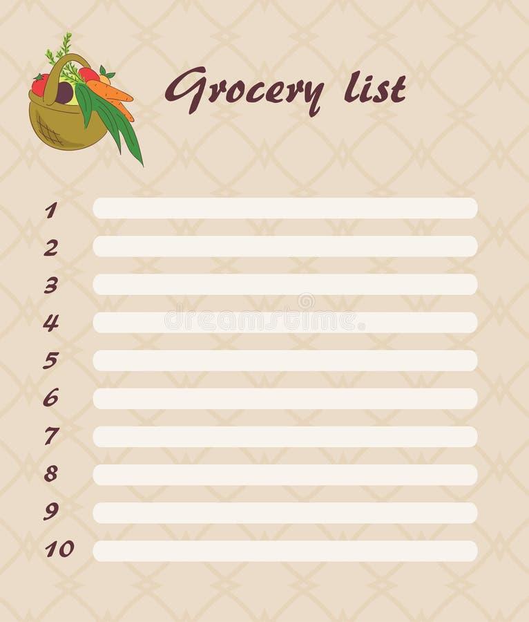 Liste d'épicerie illustration stock