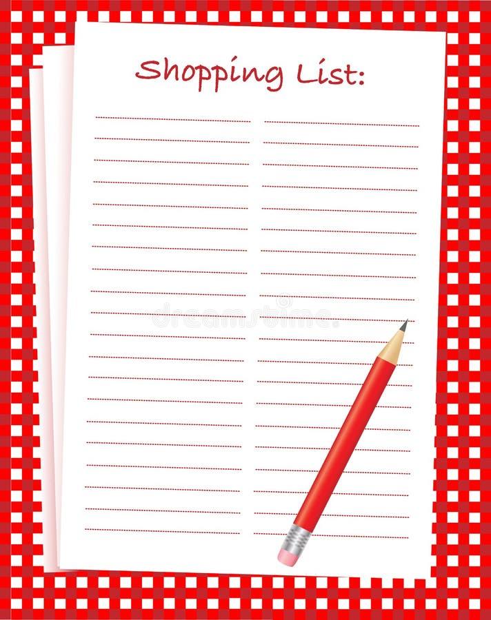 Liste d'achats illustration libre de droits