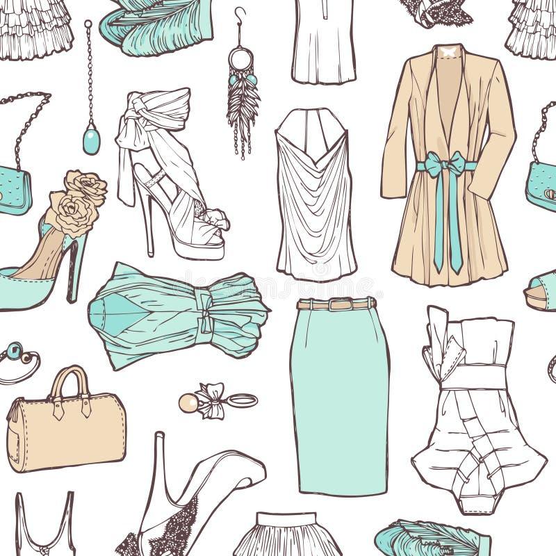Liste d'achats dans les photos. Modèle de l'habillement des femmes à Roma illustration stock
