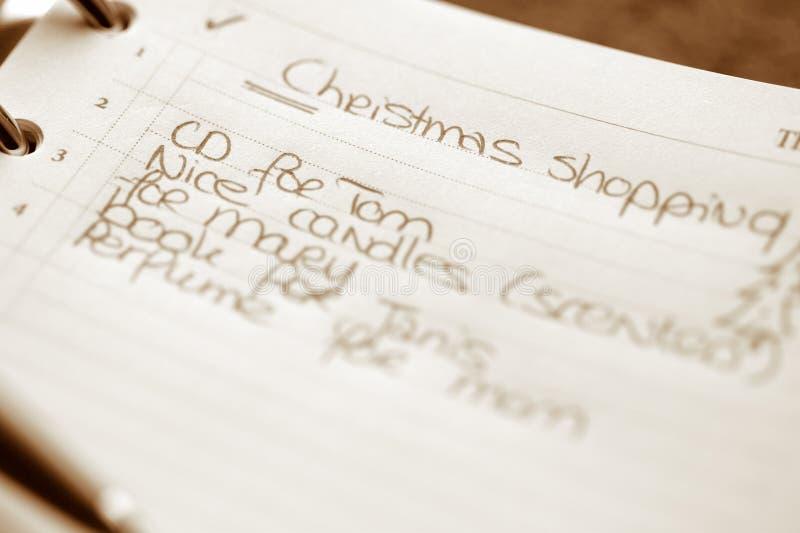 Liste d'achats de Noël photographie stock