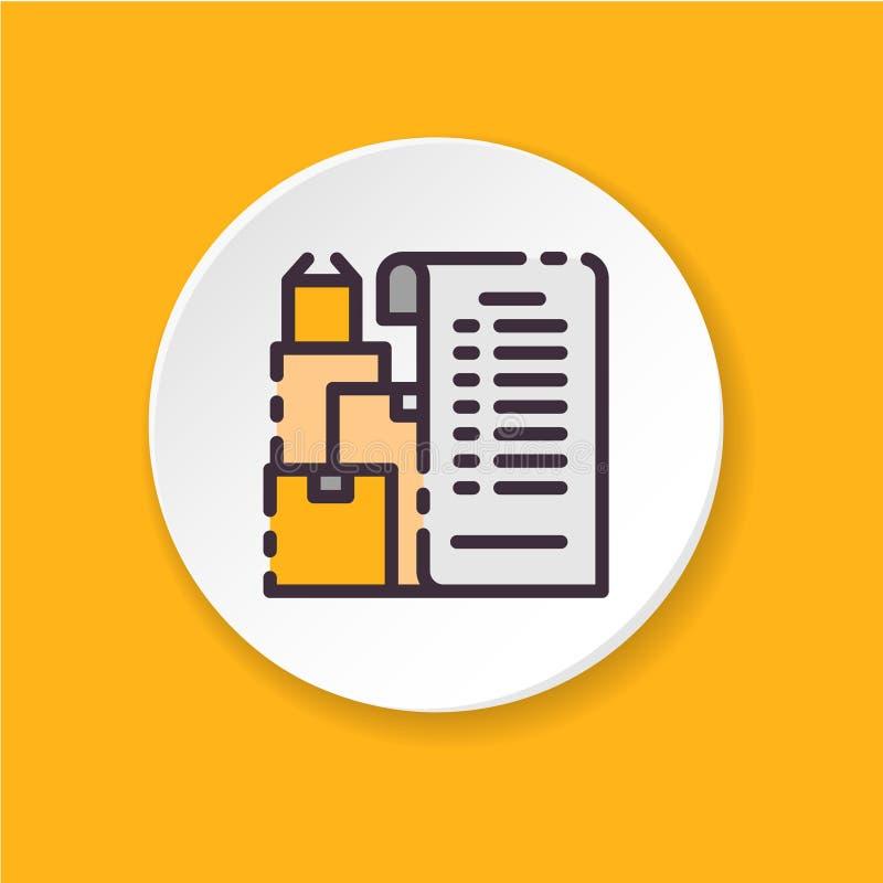 Liste d'icône de choses plate à déplacer Interface utilisateurs d'UI/UX illustration libre de droits