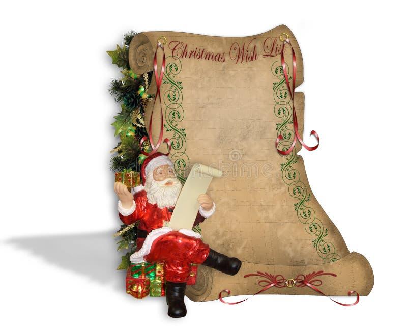 Liste d'objectifs de Noël sur le vieux parchemin illustration de vecteur