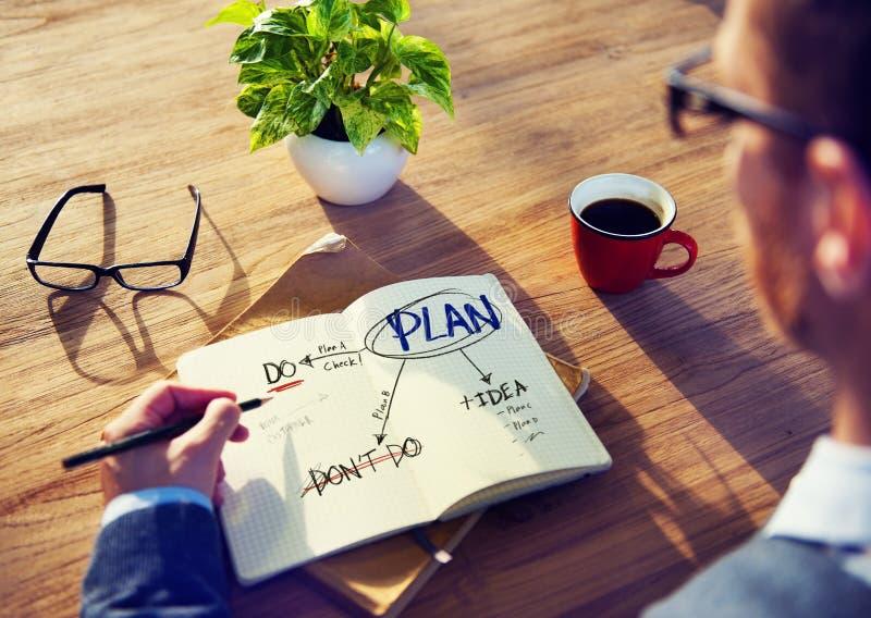 Liste de Brainstorming About Planning d'homme d'affaires images libres de droits