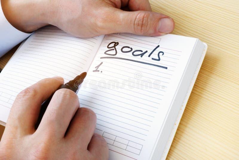 Liste de buts écrite dans une note photographie stock