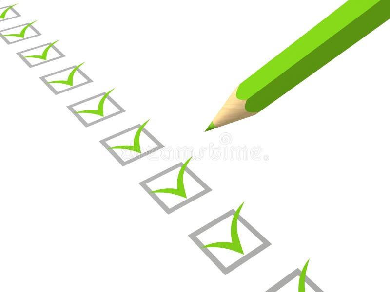 Liste de contrôle avec le crayon vert sur le fond blanc illustration de vecteur