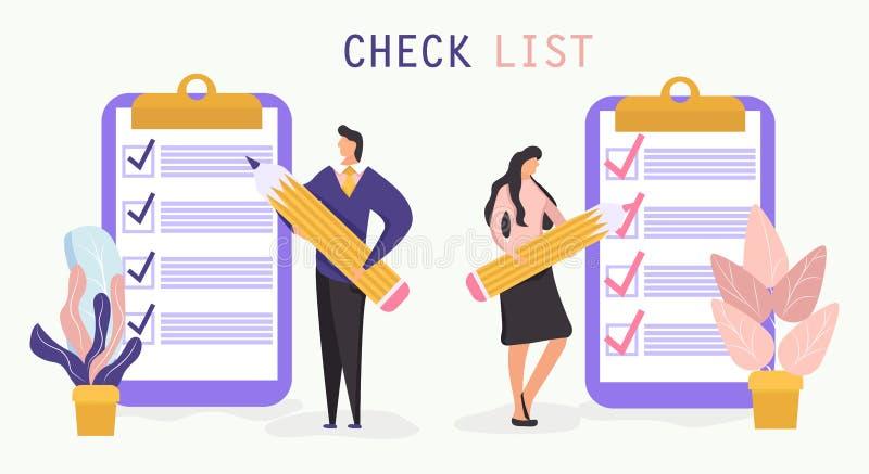 Liste de contrôle avec une marque de coutil l'homme et la femme tient un crayon et reste près du presse-papiers géant illustration stock
