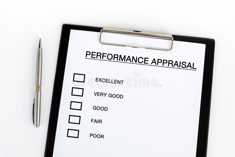Liste de contrôle d'évaluation des performances photo libre de droits
