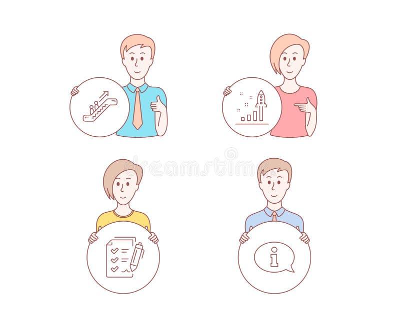 Liste de contrôle d'escalator, d'enquête et icônes de programme de développement Signe de l'information Ascenseur, rapport, strat illustration stock