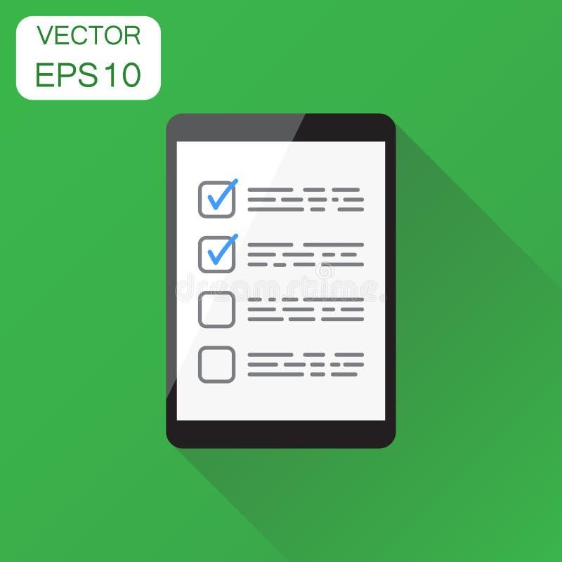 Liste de contrôle d'homme d'affaires avec l'icône de comprimé Concept d'affaires illustration stock