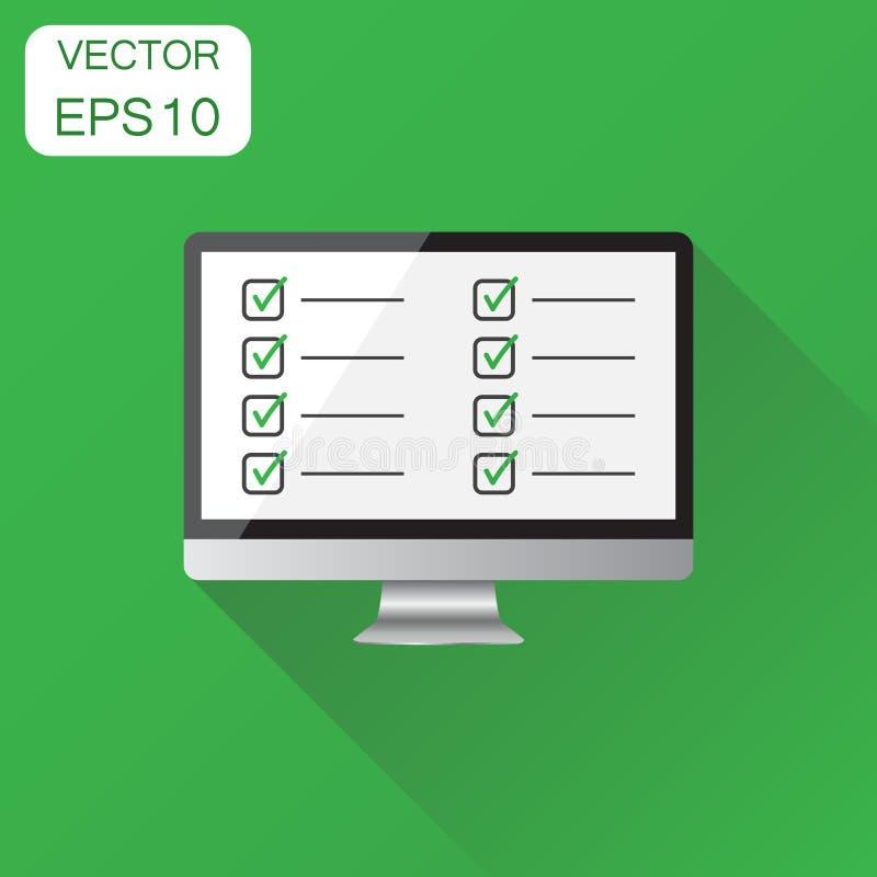Liste de contrôle d'homme d'affaires avec l'icône d'ordinateur Concept d'affaires illustration stock
