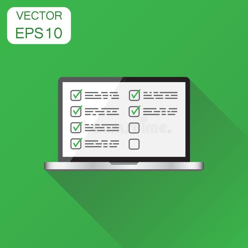 Liste de contrôle d'homme d'affaires avec l'icône d'ordinateur portable Concept d'affaires illustration de vecteur