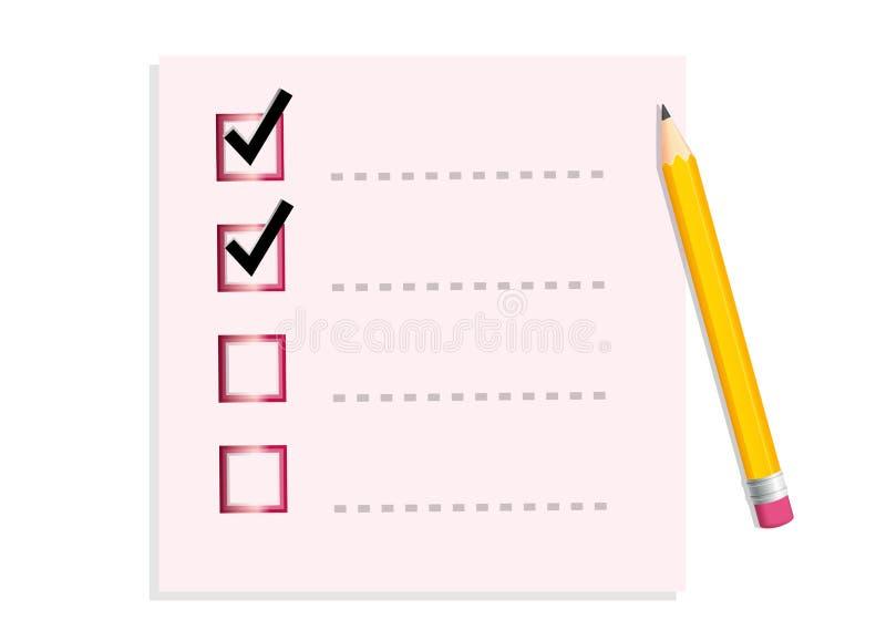 Liste de contrôle, pour faire la liste, notes de post-it, crayon illustration de vecteur