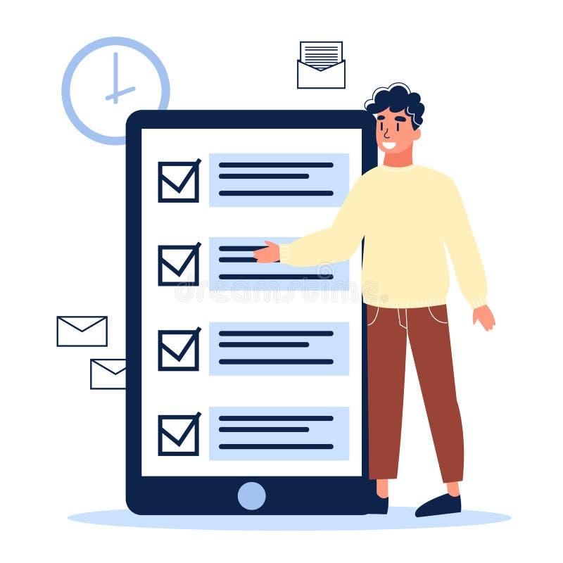 Liste de contrôle sur l'écran du téléphone portable Tâche de Digital illustration stock