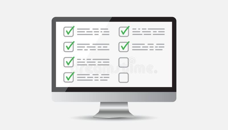 Liste de contrôle d'homme d'affaires avec l'ordinateur Vecteur plat d'icône de liste de contrôle illustration stock