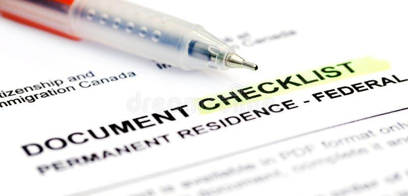 Liste de contrôle de document pour le Canada d'application de visa images libres de droits
