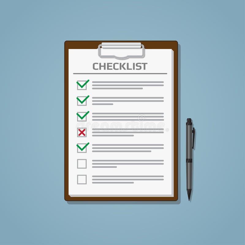 Liste de contrôle en bloc-notes illustration de vecteur