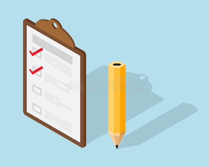 Liste de contrôle sur le presse-papiers et le crayon isométriques illustration stock