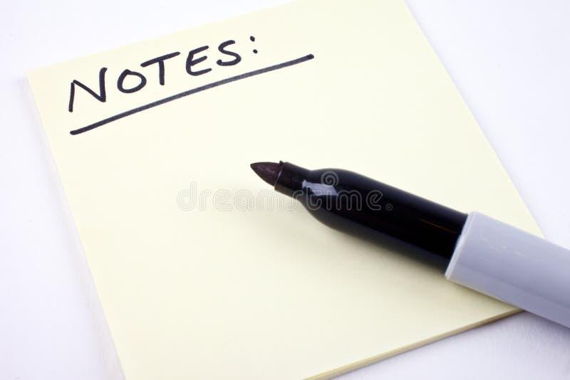 Liste de notes images libres de droits