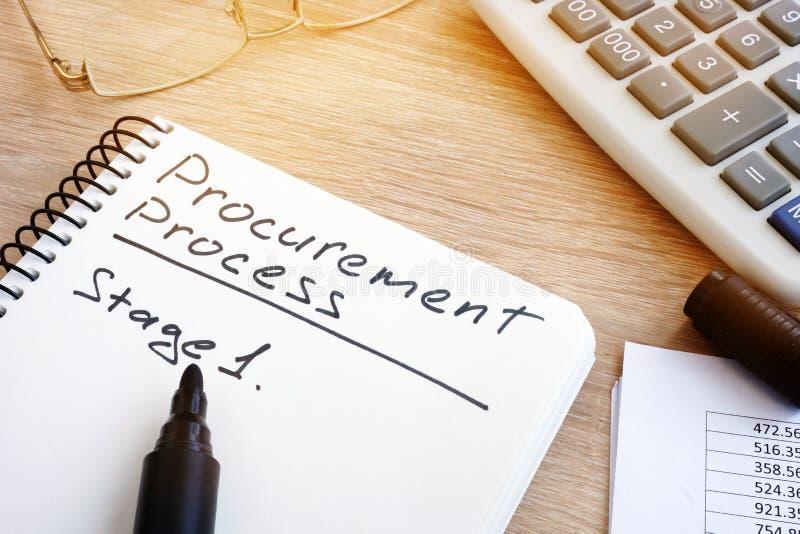 Liste de processus de fourniture avec l'étape 1 photo libre de droits