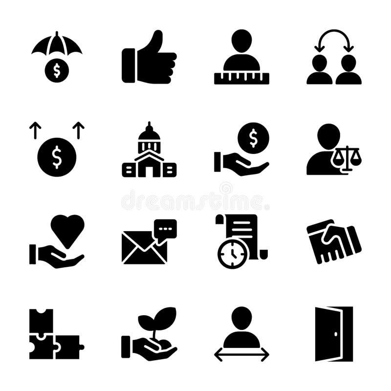 Liste de qualité personnelle, icônes solides de gestion des employés illustration stock