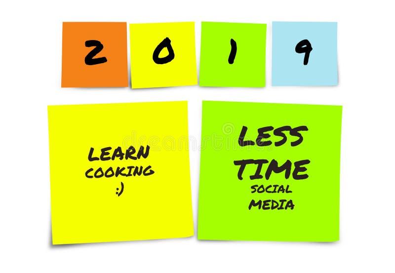 Liste de 2019 résolutions manuscrites et de buts de nouvelle année dans les notes collantes dans la détermination d'engagement et images libres de droits