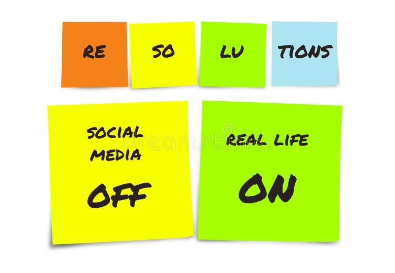 Liste de résolutions manuscrites de nouvelles années et de notes collantes de buts : médias sociaux outre de et vie réelle dessus photos stock