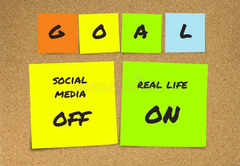 Liste de résolutions manuscrites de nouvelles années et de notes collantes de buts : médias sociaux outre de et vie réelle dessus images libres de droits