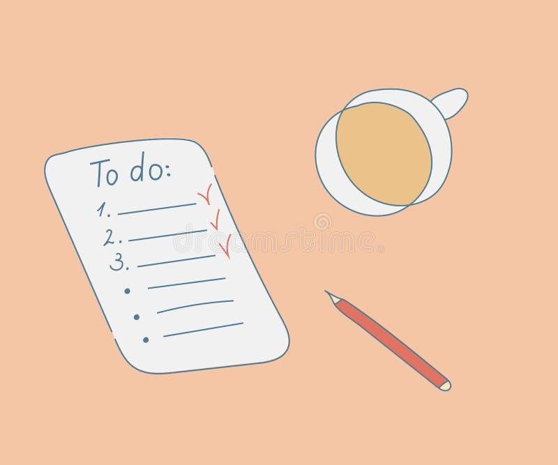 Liste de remue-ménage avec la tasse du café et du crayon Illustration tir?e par la main de conception de vecteur de style Feuille illustration de vecteur