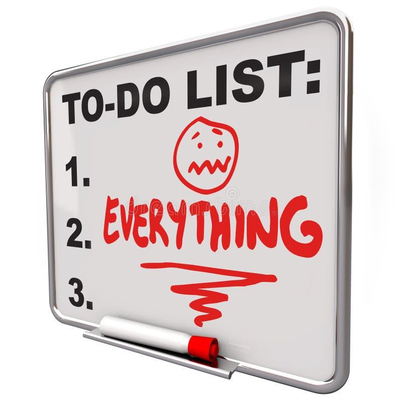 Liste de remue-ménage tout effort surmené par conseil sec d'effacement illustration de vecteur