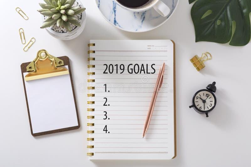 Liste 2019 de but sur le carnet images stock