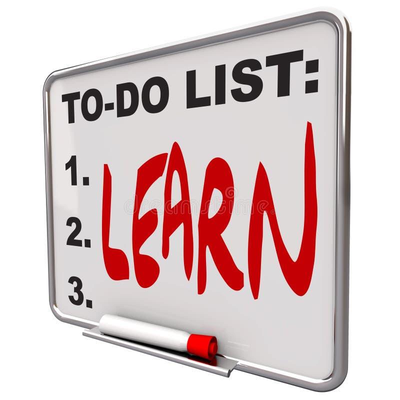 Liste de To-Do - apprenez - séchez le panneau d'effacement illustration stock