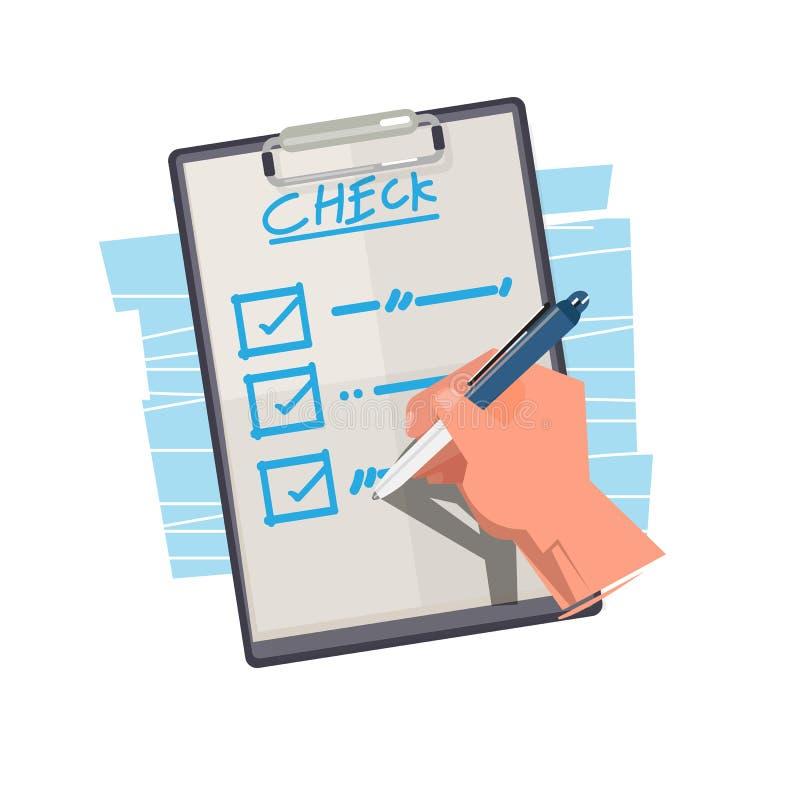 Liste de vérification de main sur le papier choses pour faire - l'illustration illustration libre de droits
