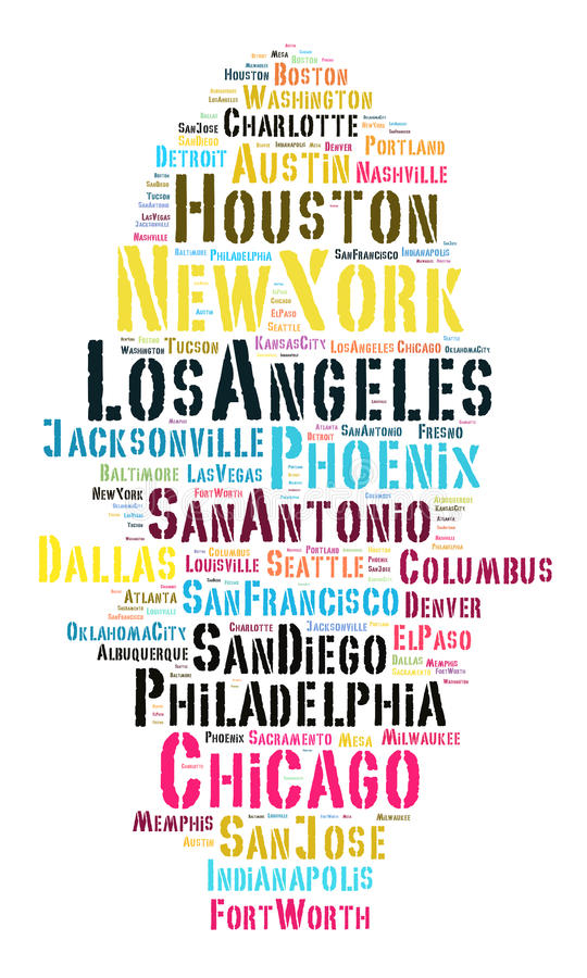 Liste de villes des Etats-Unis illustration de vecteur